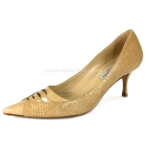JIMMY CHOO London Italy Nude Pointy Toe 2+ Heel